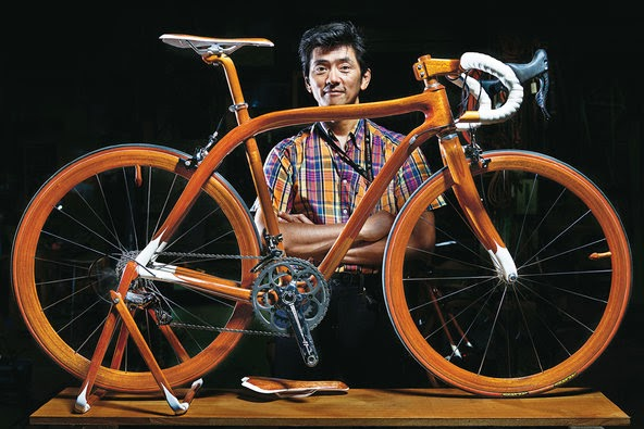sano bicicleta mogno - aplicação da madeira